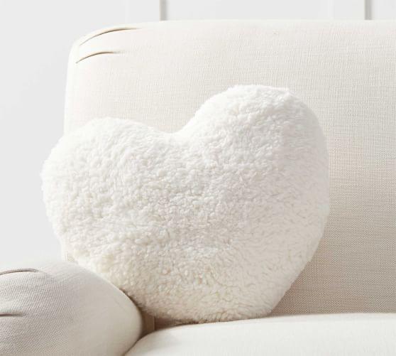 heart shaped sherpa filled pillow