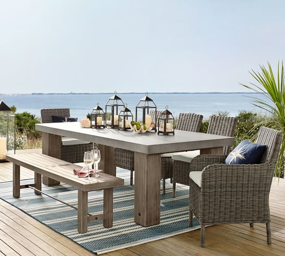 abbott indoor outdoor 96 concrete fsc acacia chunky leg dining table