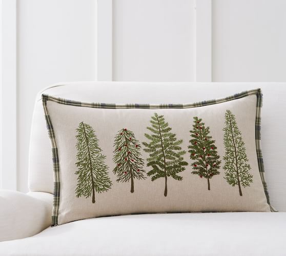 forest embroidered lumbar decorative