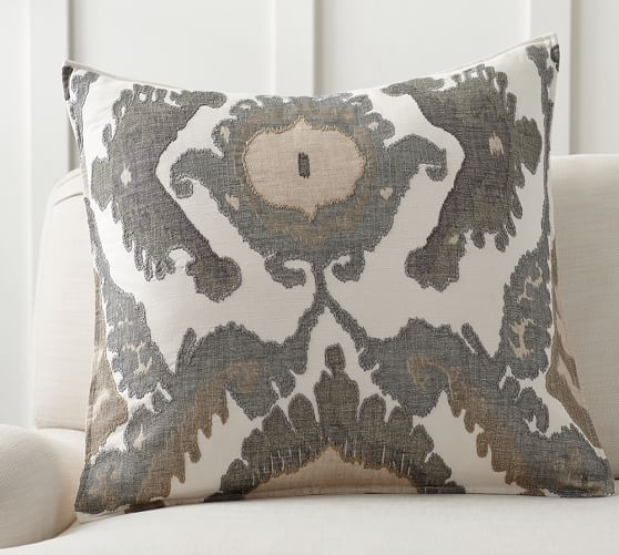hudson ikat embroidered pillow cover
