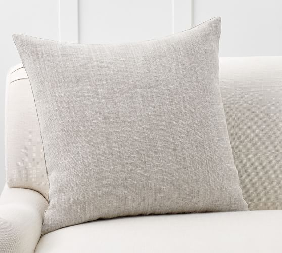 belgian linen pillow cover made with libeco linen 24 x 24 pewter
