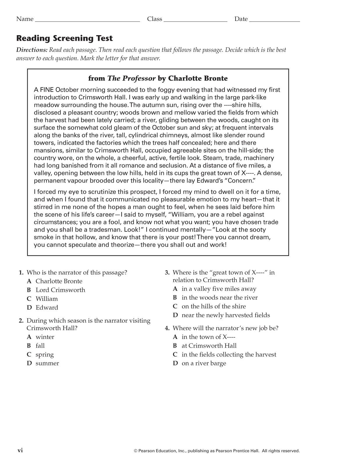 Prentice Hall Pre Algebra Worksheet