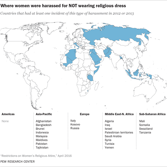 Dressing restrictions on women in the world