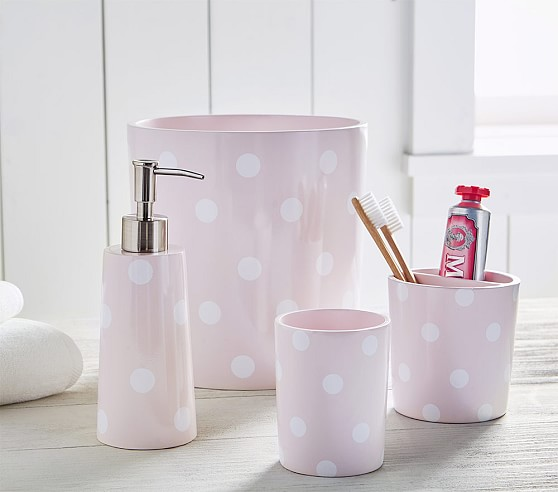 Pink Dot Kids Bathroom Set Pottery Barn Kids