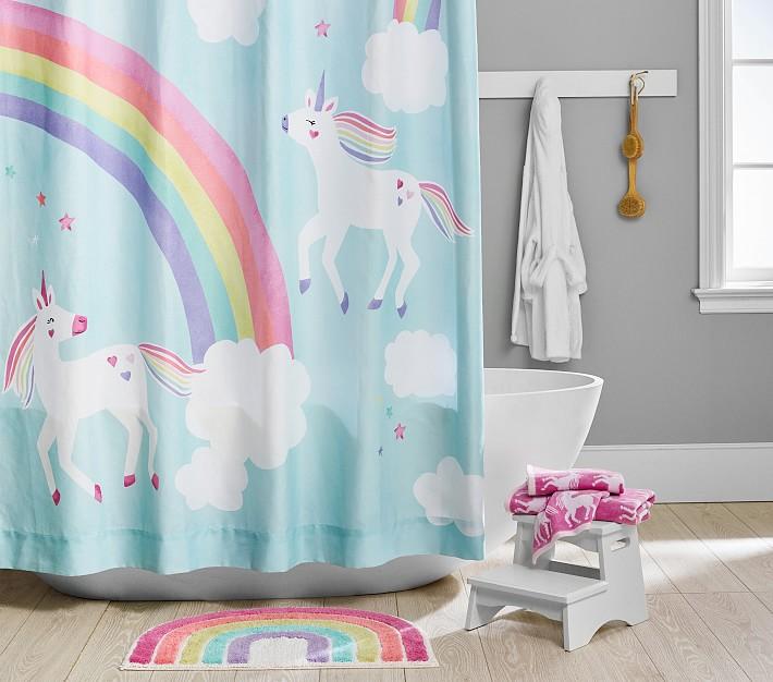 rainbow unicorn bath set towels shower curtain bath mat