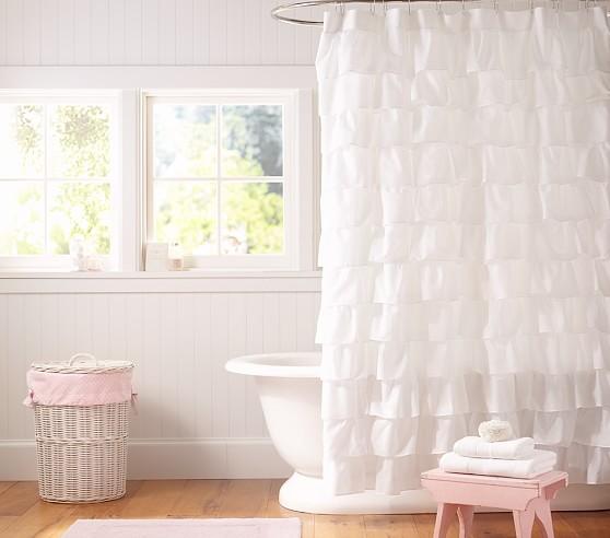 ruffle kids shower curtain pottery