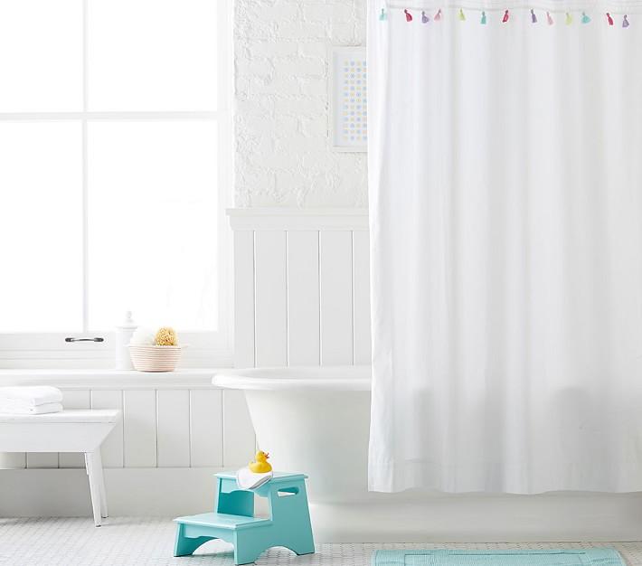 pink tassel kids shower curtain