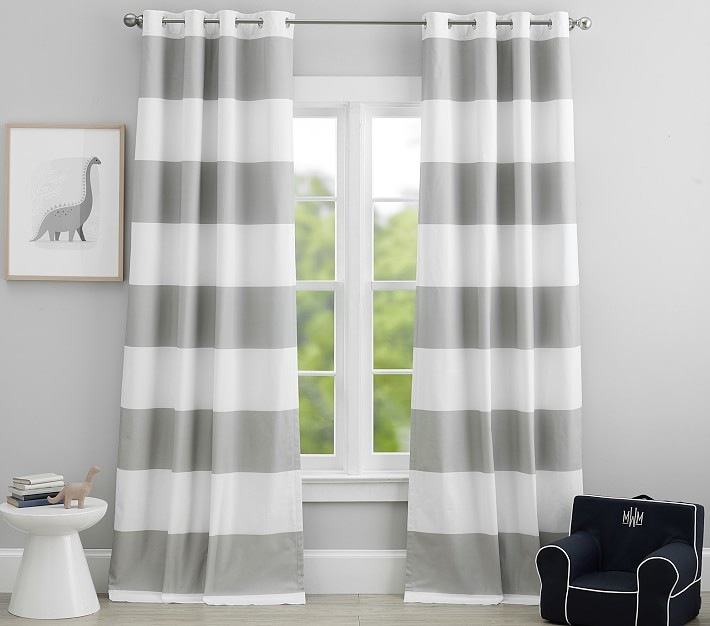 preppy rugby stripe blackout curtain panel