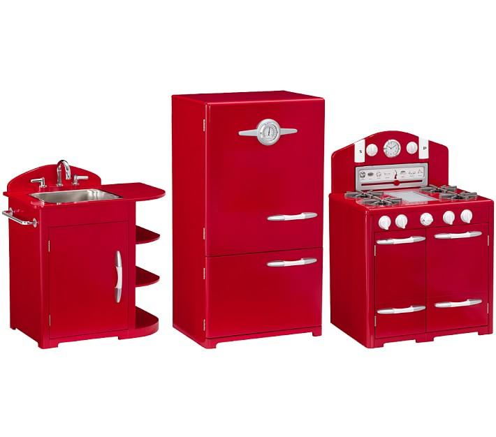 red retro kitchen sink icebox oven