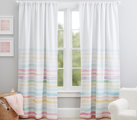 kayla rainbow stripe blackout curtain panel