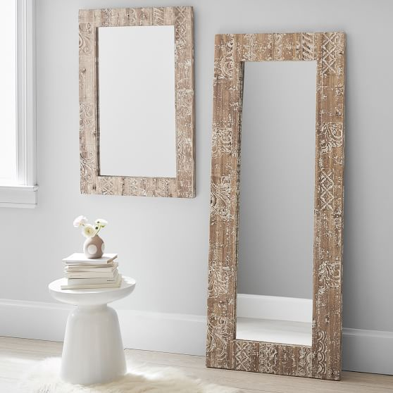 carved wood decorative mirror pottery