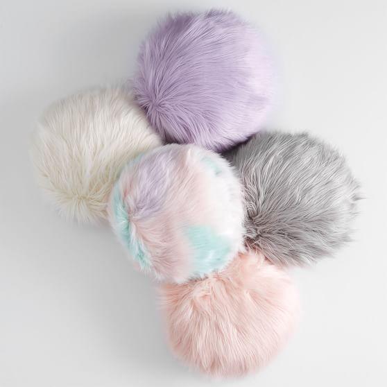 himalayan faux fur round pillow