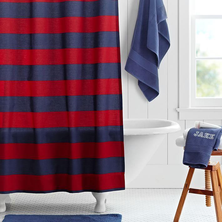 navy red rugby stripe teen shower