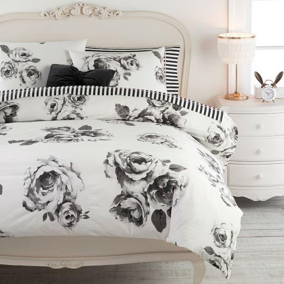 the emily meritt bed of roses duvet cover sham black white