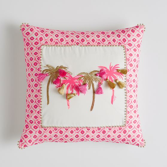 lilly pulitzer palm pillow cover