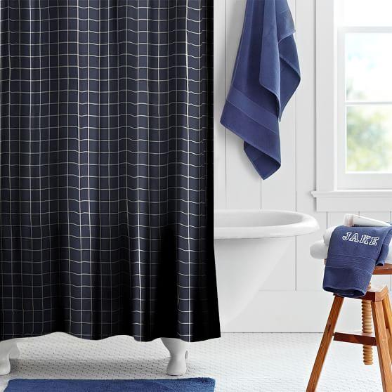 boxter plaid teen shower curtain