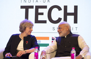 Prime Minister Theresa May with Indian Prime Minister Narendra Modi at the India-UK Tech Summit