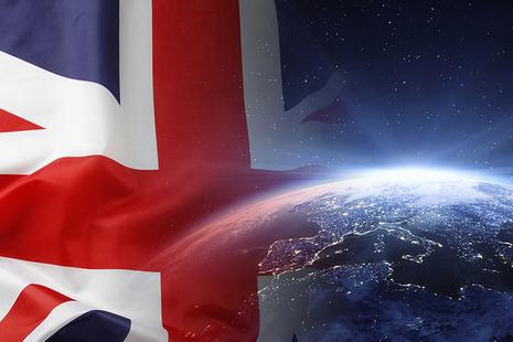 UK flag across the globe