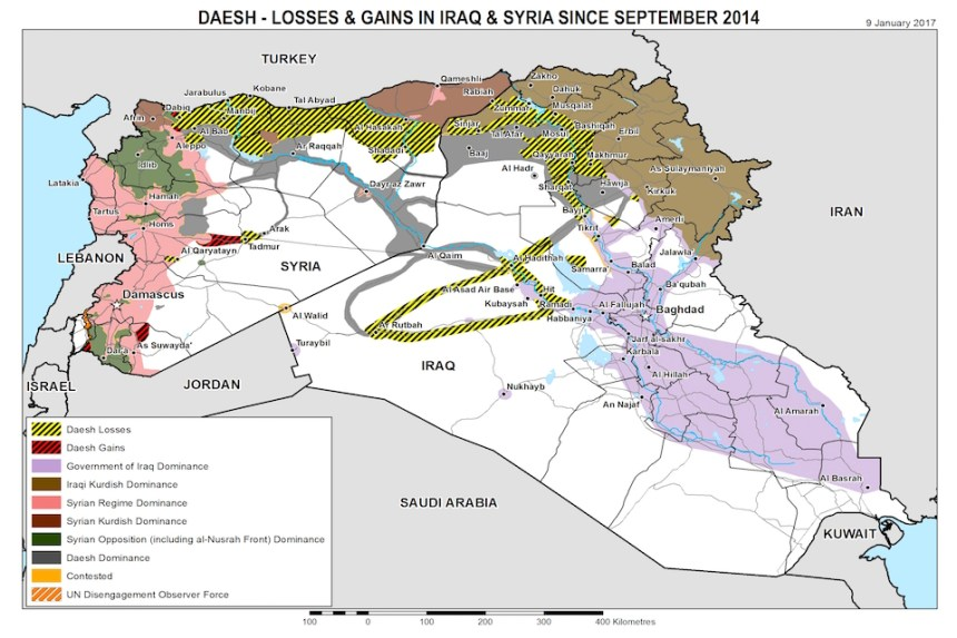 Map of Daesh losses and gains in Iraq and Syria since September 2014