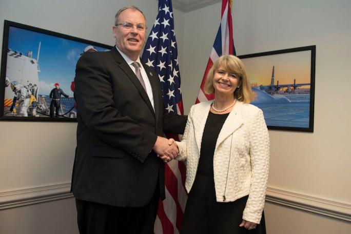 Defence Minister Harriett Baldwin meeting Bob Work in September 2016