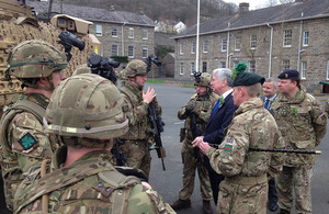 Defence Secretary Sir Michael Fallon confirmed that the Army's future is secure in Brecon during a visit to the Welsh town today. Crown Copyright.