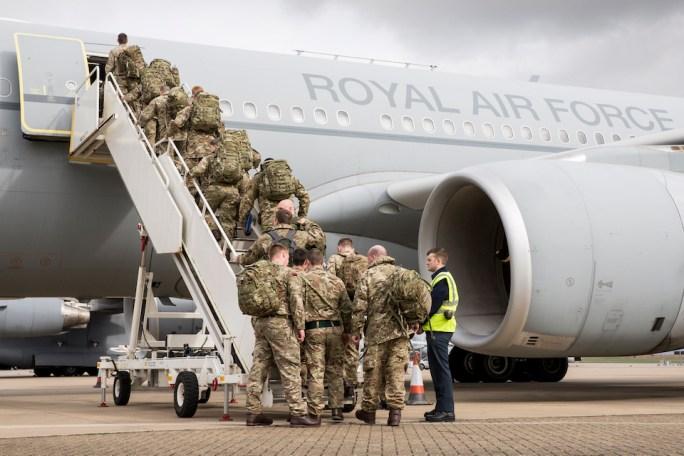 Personnel from the 5th Battalion The Rifles depart from RAF Brize Norton for Estonia.