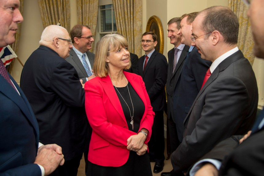 Defence Minister Harriett Baldwin and her French counterpart Laurent Collet-Billon meeting with members of the French and British project teams from MBDA.