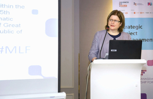 HMA Judith Farnworth making opening remarks at the Management and Leadership Forum held in Yerevan