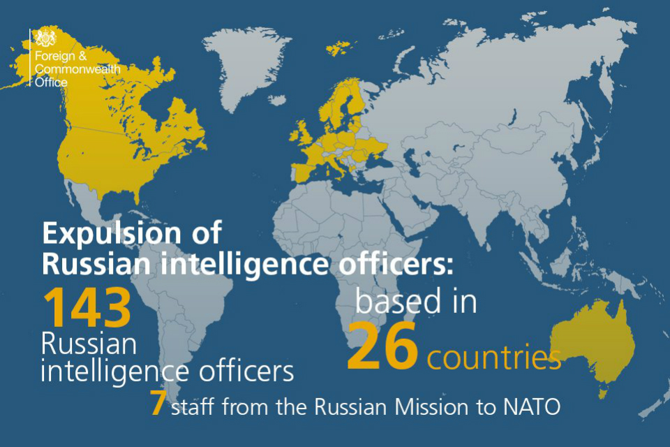 Map showing the 26 countries that have expelled 143 Russian intelligence officers and 7 from the Russian mission to NATO