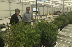 Environment Minister Thérèse Coffey at the Delamere Nursery.