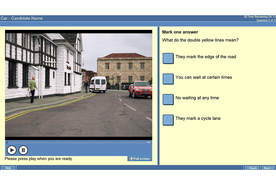 Screenshot of theory test question showing a van parked on double yellow lines with the question 'What do double yellow lines mean?' and 4 possible answers