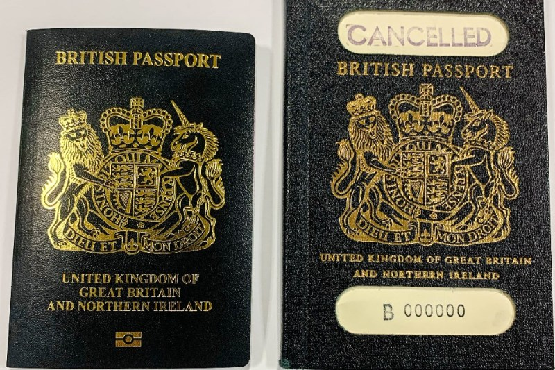 Image of new and old designs of the blue British passport alongside each other