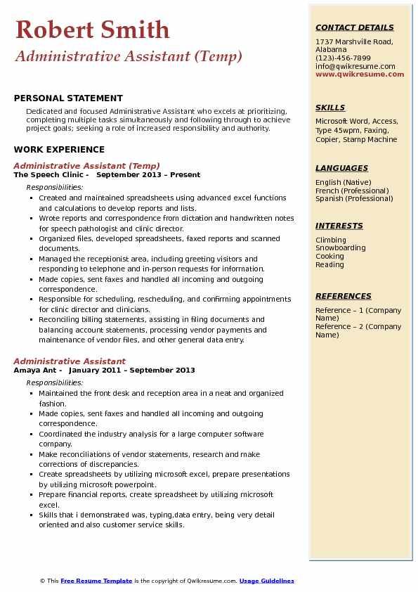 Administrative Assistant Coordinator Resume Samples