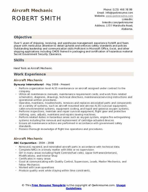 aviation mechanic resume  resume sample