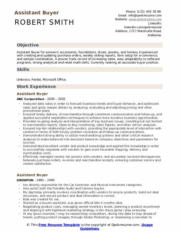 Assistant Buyer Resume Samples Qwikresume