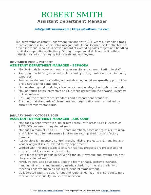 Department Manager Resume - Resume Sample