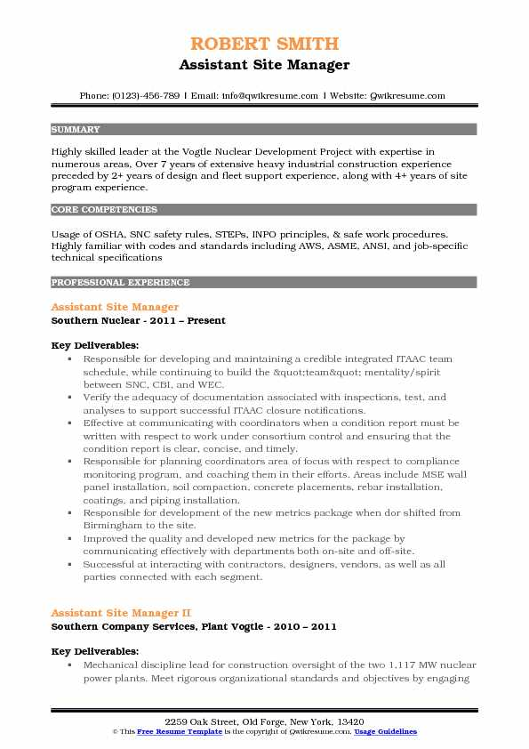 Assistant Site Manager Resume Samples Qwikresume