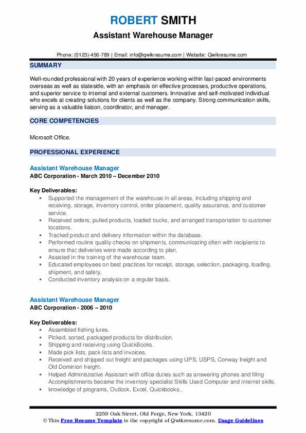 · keep logs of everything: Assistant Warehouse Manager Resume Samples Qwikresume