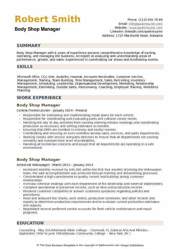 An auto body repair estimate template is used by auto shops or independent mechanics to determine how much their vehicle repairs or services will cost per. Body Shop Manager Resume Samples Qwikresume