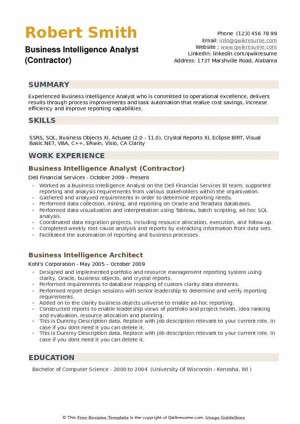 Business intelligence analyst resume examples business intelligence analysts gather data about market trends and business opportunities in order to maximize efficiency and revenues. Business Intelligence Analyst Resume Samples Qwikresume