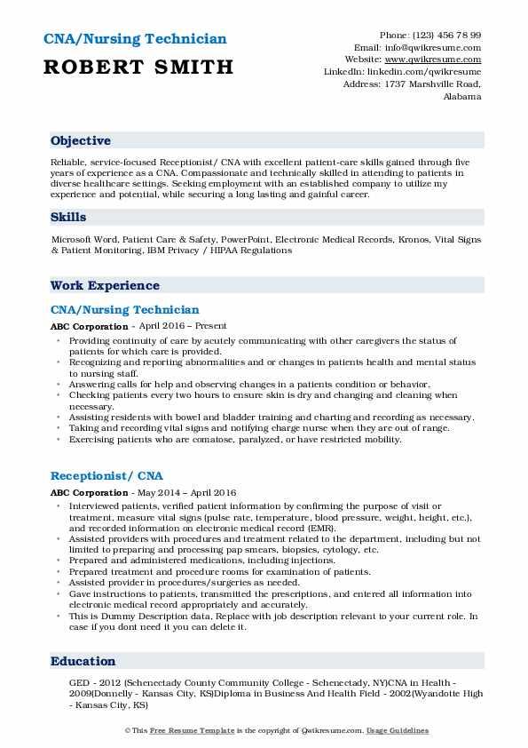 Cna Resume Format - Resume Sample