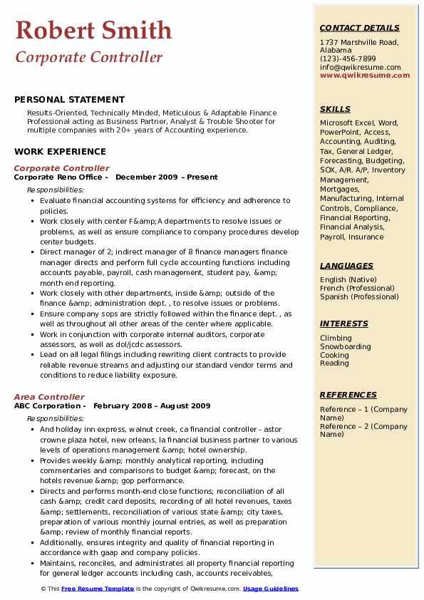 Corporate Controller Resume Samples Qwikresume