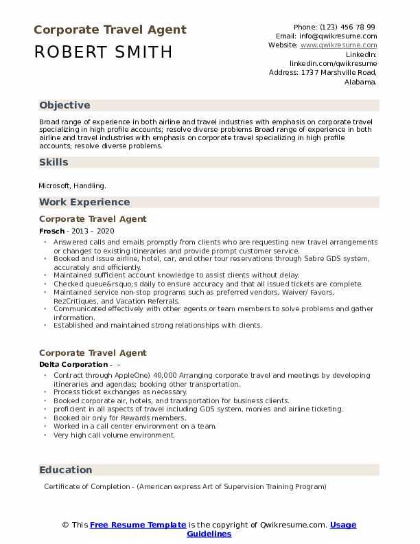 corporate travel agent resume  resume sample
