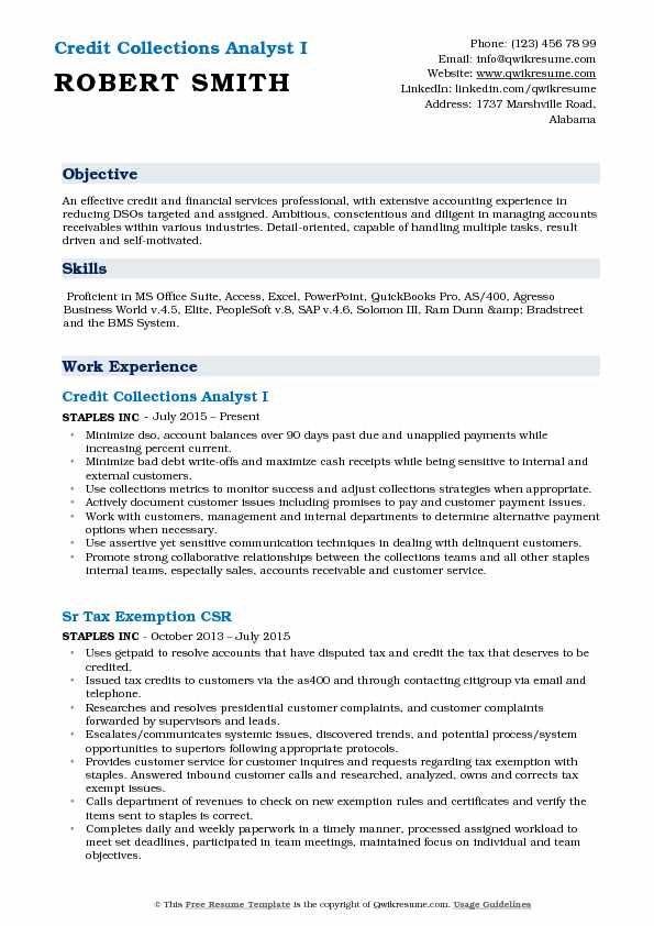 Credit Collections Analyst Resume Samples Qwikresume