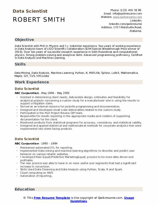 Core competencies include data extraction, managing, analyzing and reporting. Data Scientist Resume Samples Qwikresume