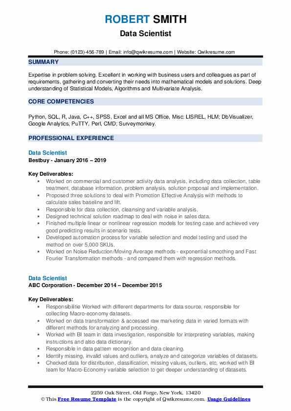 Data scientist, csc consulting gmbh, cologne, germany. Data Scientist Resume Samples Qwikresume