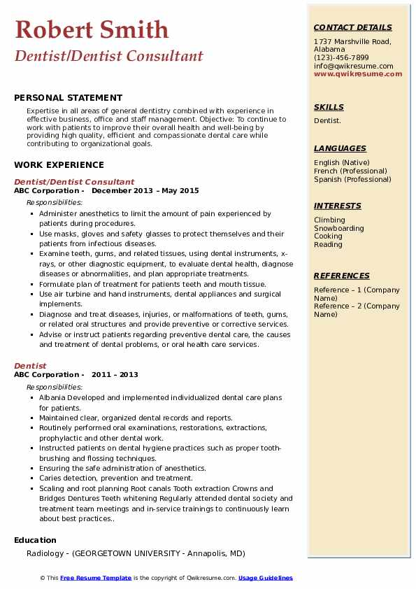 Even in the era of linkedin, a polished resume is an important part of a successful job search. Dentist Resume Samples Qwikresume