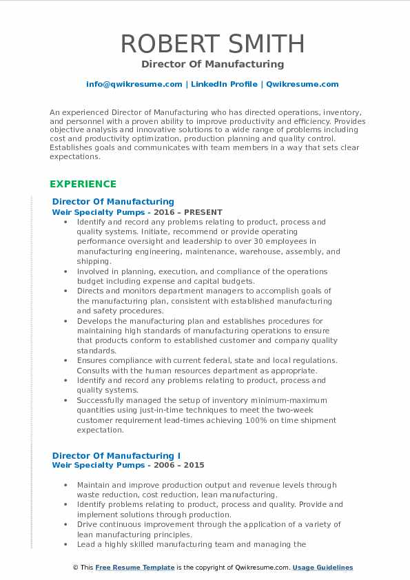Director Of Manufacturing Resume Samples Qwikresume