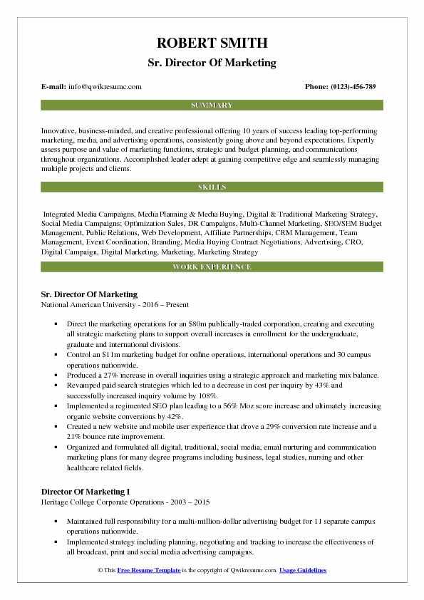Creative Marketing Director Resume Best Resume Examples