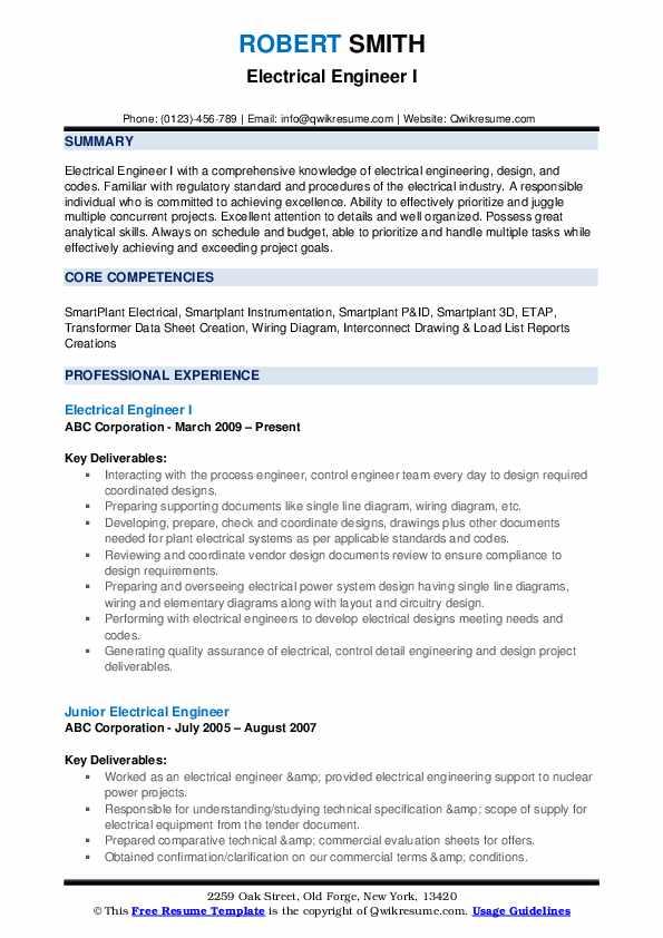 electrical engineer resume samples  qwikresume